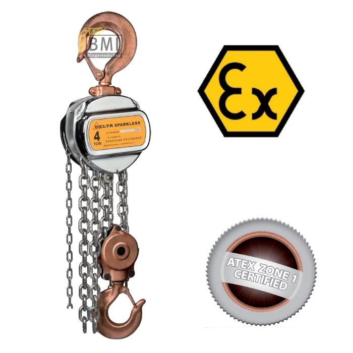 Sparkless handkettingtakel ATEX Zone 1 en 2