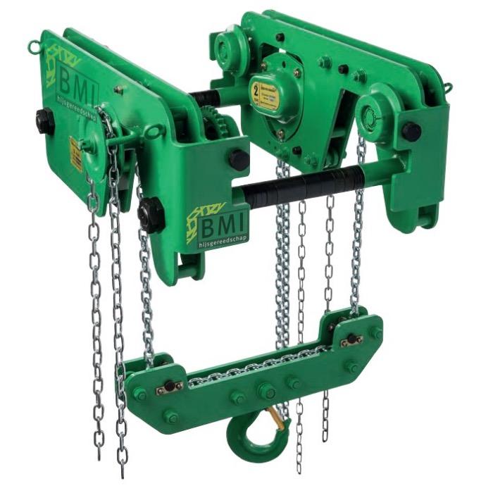 Green handkettingtakel met kettingloopkat